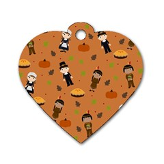 Pilgrims And Indians Pattern   Thanksgiving Dog Tag Heart (two Sides) by Valentinaart