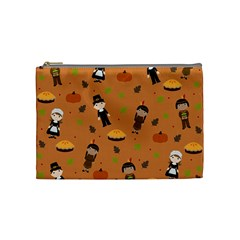 Pilgrims And Indians Pattern   Thanksgiving Cosmetic Bag (medium)  by Valentinaart