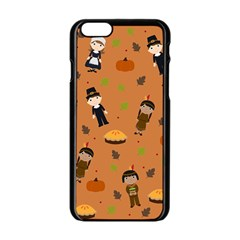 Pilgrims And Indians Pattern   Thanksgiving Apple Iphone 6/6s Black Enamel Case by Valentinaart