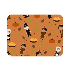 Pilgrims And Indians Pattern   Thanksgiving Double Sided Flano Blanket (mini)  by Valentinaart