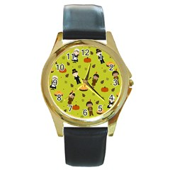 Pilgrims And Indians Pattern   Thanksgiving Round Gold Metal Watch by Valentinaart