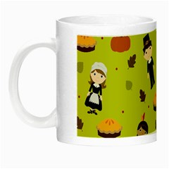 Pilgrims And Indians Pattern   Thanksgiving Night Luminous Mugs by Valentinaart