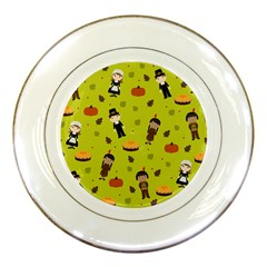 Pilgrims And Indians Pattern   Thanksgiving Porcelain Plates by Valentinaart
