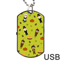 Pilgrims And Indians Pattern   Thanksgiving Dog Tag Usb Flash (two Sides) by Valentinaart