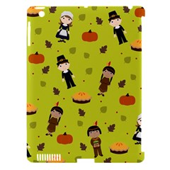 Pilgrims And Indians Pattern   Thanksgiving Apple Ipad 3/4 Hardshell Case (compatible With Smart Cover) by Valentinaart