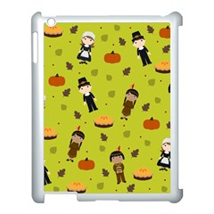 Pilgrims And Indians Pattern   Thanksgiving Apple Ipad 3/4 Case (white) by Valentinaart
