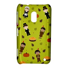 Pilgrims And Indians Pattern   Thanksgiving Nokia Lumia 620 by Valentinaart