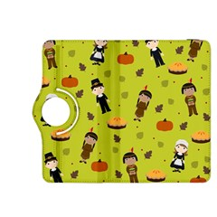 Pilgrims And Indians Pattern   Thanksgiving Kindle Fire Hdx 8 9  Flip 360 Case by Valentinaart