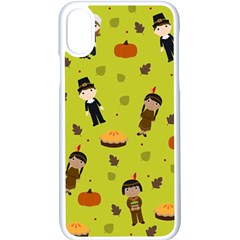 Pilgrims And Indians Pattern   Thanksgiving Apple Iphone X Seamless Case (white)