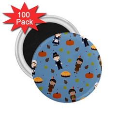 Pilgrims And Indians Pattern   Thanksgiving 2 25  Magnets (100 Pack)  by Valentinaart