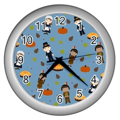Pilgrims And Indians Pattern   Thanksgiving Wall Clocks (silver)  by Valentinaart