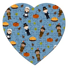 Pilgrims And Indians Pattern   Thanksgiving Jigsaw Puzzle (heart) by Valentinaart