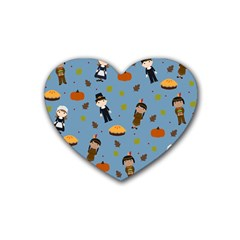 Pilgrims And Indians Pattern   Thanksgiving Rubber Coaster (heart)  by Valentinaart