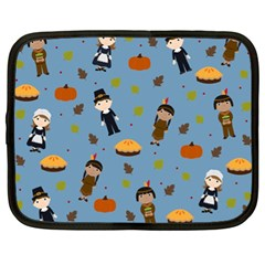 Pilgrims And Indians Pattern   Thanksgiving Netbook Case (xl)  by Valentinaart