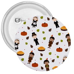 Pilgrims And Indians Pattern   Thanksgiving 3  Buttons by Valentinaart