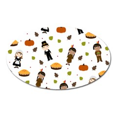 Pilgrims And Indians Pattern   Thanksgiving Oval Magnet by Valentinaart