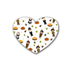 Pilgrims And Indians Pattern   Thanksgiving Heart Coaster (4 Pack)  by Valentinaart