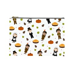 Pilgrims And Indians Pattern   Thanksgiving Cosmetic Bag (large)  by Valentinaart