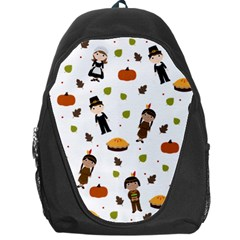 Pilgrims And Indians Pattern   Thanksgiving Backpack Bag by Valentinaart