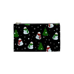 Snowman Pattern Cosmetic Bag (small)  by Valentinaart