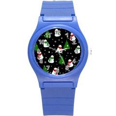 Snowman Pattern Round Plastic Sport Watch (s) by Valentinaart