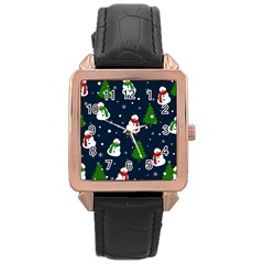 Snowman Pattern Rose Gold Leather Watch  by Valentinaart
