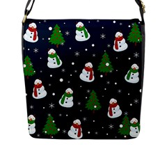 Snowman Pattern Flap Messenger Bag (l)  by Valentinaart