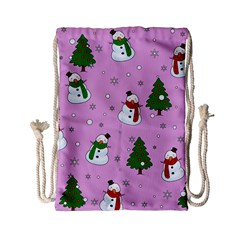 Snowman Pattern Drawstring Bag (small) by Valentinaart