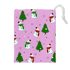 Snowman Pattern Drawstring Pouches (extra Large) by Valentinaart