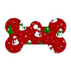 Snowman Pattern Dog Tag Bone (one Side) by Valentinaart