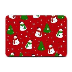 Snowman Pattern Small Doormat  by Valentinaart