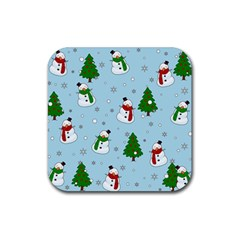 Snowman Pattern Rubber Square Coaster (4 Pack)  by Valentinaart