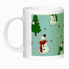 Snowman Pattern Night Luminous Mugs by Valentinaart
