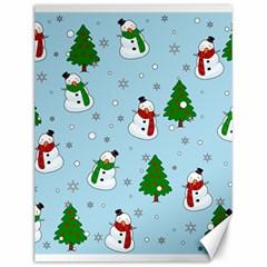 Snowman Pattern Canvas 12  X 16   by Valentinaart