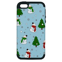 Snowman Pattern Apple Iphone 5 Hardshell Case (pc+silicone) by Valentinaart