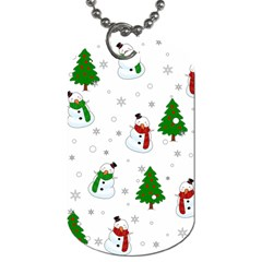 Snowman Pattern Dog Tag (two Sides) by Valentinaart