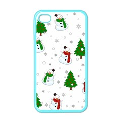 Snowman Pattern Apple Iphone 4 Case (color) by Valentinaart