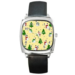 Snowman Pattern Square Metal Watch by Valentinaart