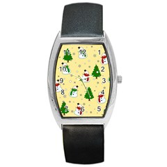 Snowman Pattern Barrel Style Metal Watch by Valentinaart