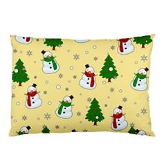 Snowman Pattern Pillow Case by Valentinaart