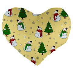 Snowman Pattern Large 19  Premium Heart Shape Cushions by Valentinaart
