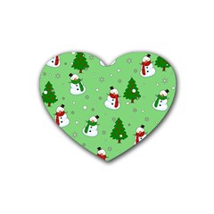 Snowman Pattern Heart Coaster (4 Pack)  by Valentinaart
