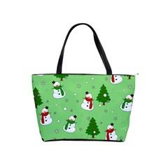 Snowman Pattern Shoulder Handbags by Valentinaart