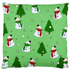 Snowman Pattern Large Cushion Case (two Sides) by Valentinaart
