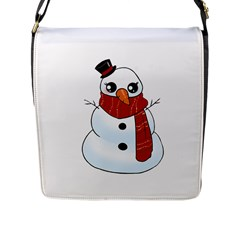 Kawaii Snowman Flap Messenger Bag (l)  by Valentinaart