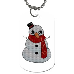 Kawaii Snowman Dog Tag (one Side) by Valentinaart