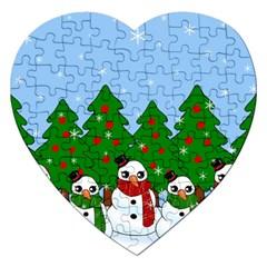 Kawaii Snowman Jigsaw Puzzle (heart) by Valentinaart