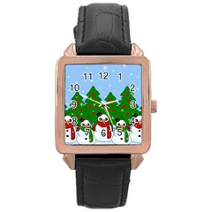 Kawaii Snowman Rose Gold Leather Watch  by Valentinaart