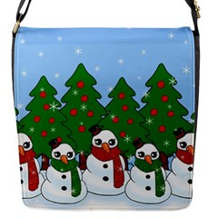Kawaii Snowman Flap Messenger Bag (s) by Valentinaart