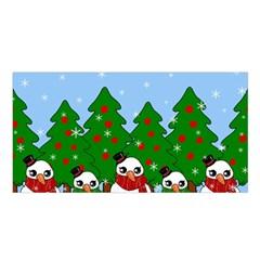 Kawaii Snowman Satin Shawl by Valentinaart